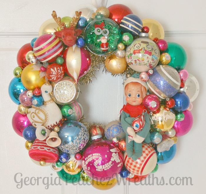 Merry Kitschmas Vintage Ornament Wreath